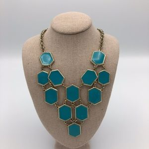 Francesca's Statement Necklace blue gold